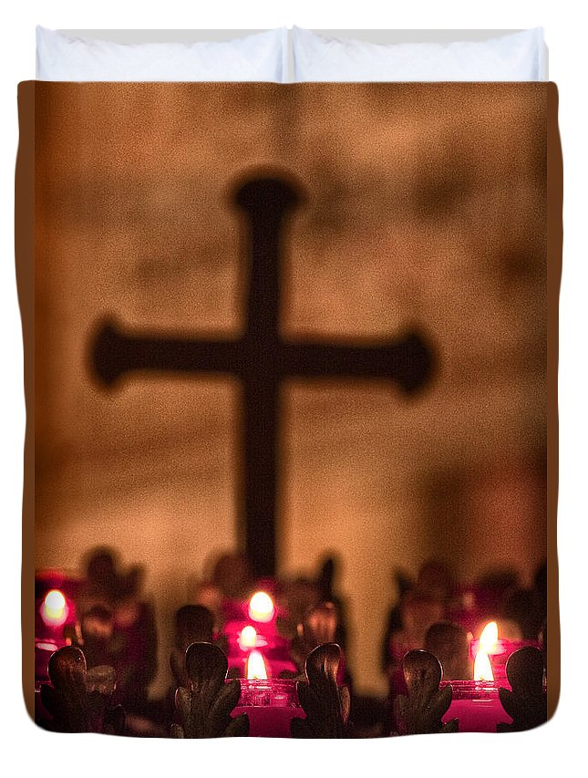 Strong; Strength; Passion; Love; Rosary; Catholic; Christian; Cross; Christ; Religious; Faith; Mood; Christianity; Jesus; Holy; Belief; Close Up; Red; Texture; Prayer; Praying; Religion; Candles; Lit; Light; Memory Duvet Cover featuring the photograph In Memory by Margie Hurwich