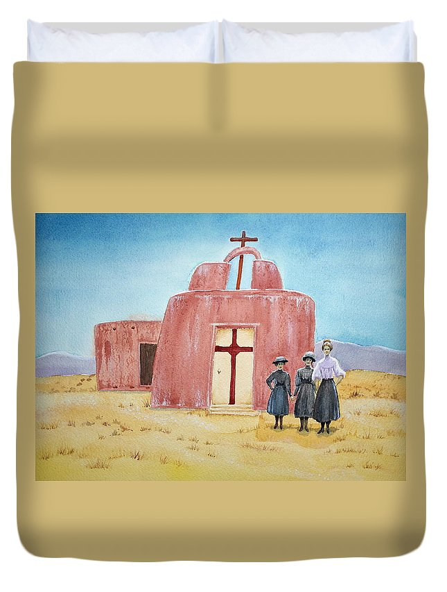 New Mexico Duvet Cover featuring the painting In Old New Mexico II by Michele Myers