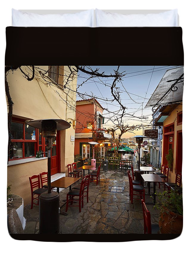 Plaka Duvet Cover featuring the photograph in Plaka by Milan Gonda