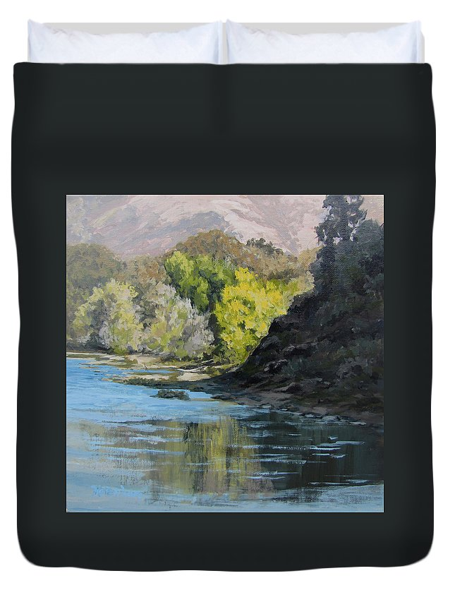 Landscape Duvet Cover featuring the painting In Shadow by Karen Ilari