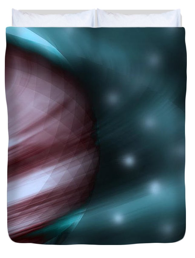Space Art Duvet Cover featuring the digital art In Space by Linda Sannuti