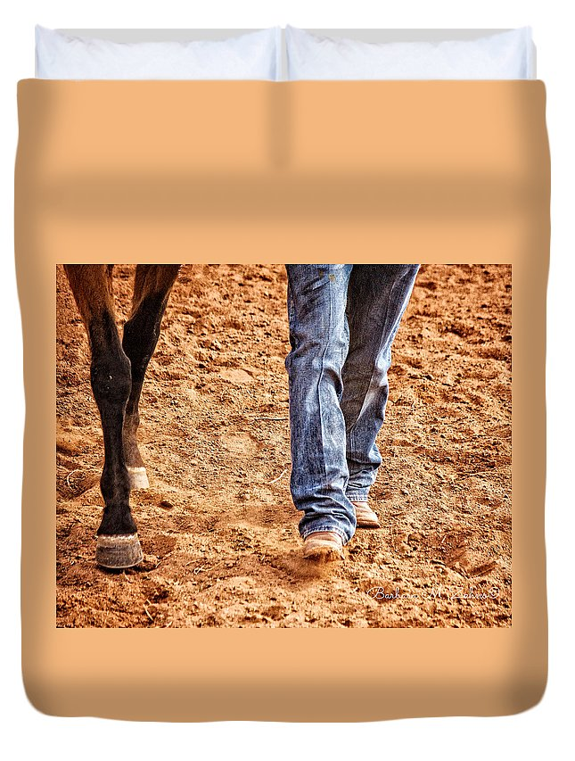 Horses Duvet Cover featuring the photograph In Step by Barbara Zahno