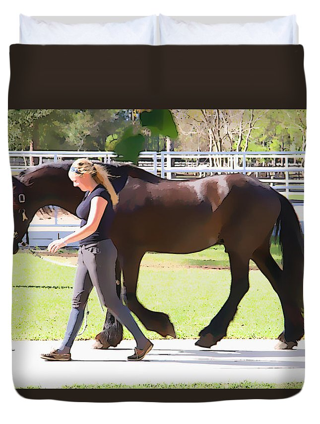 Horse Duvet Cover featuring the photograph In Sync by Alice Gipson