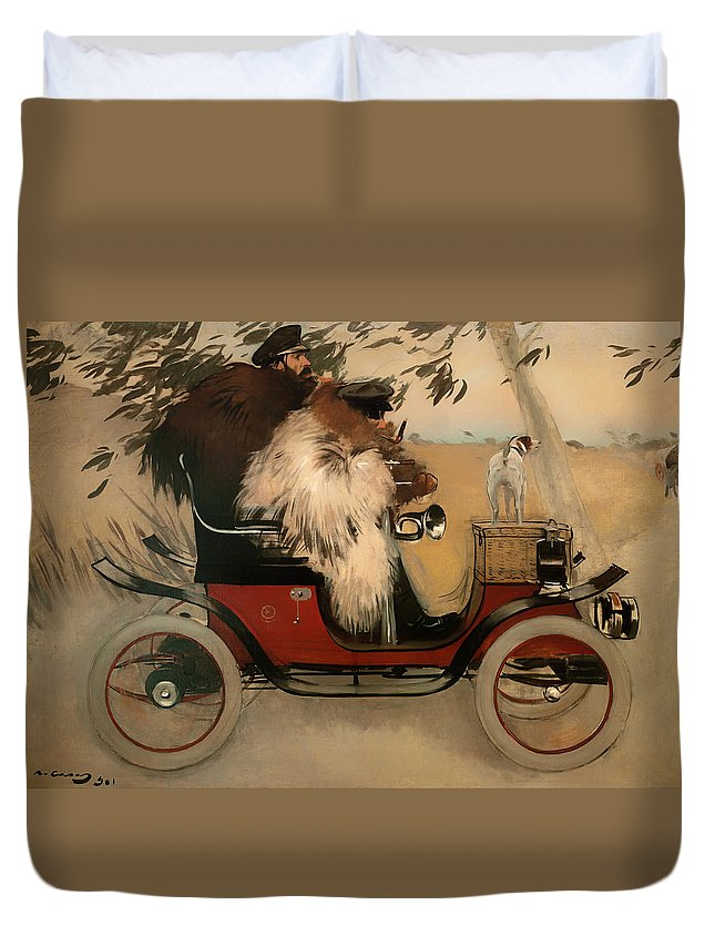 Painting Duvet Cover featuring the painting In The Automobile by Mountain Dreams