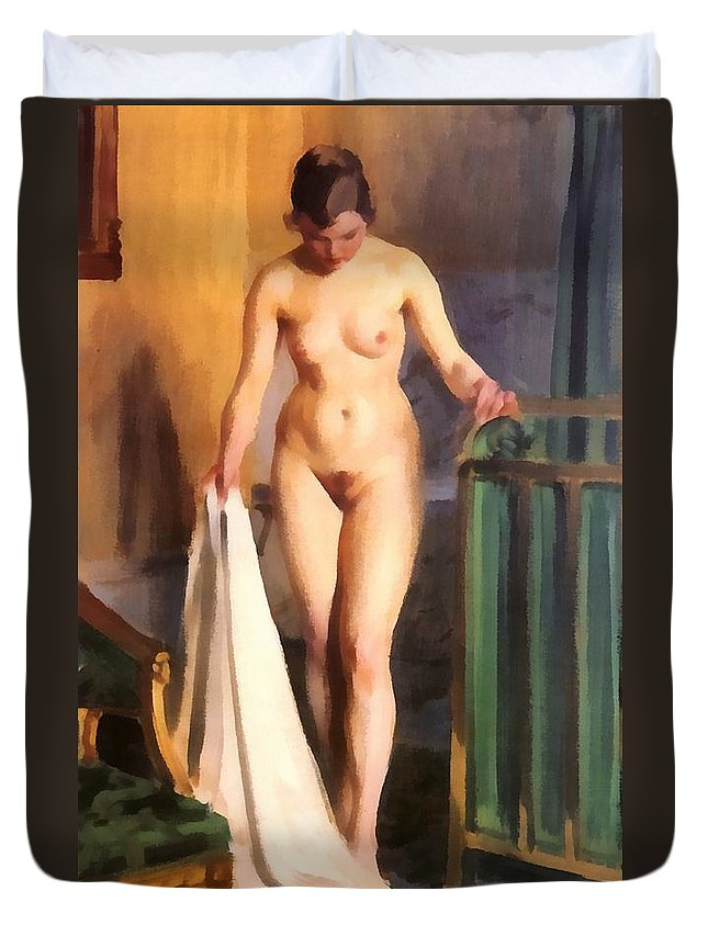 In The Bedroom Duvet Cover featuring the digital art In The Bedroom by Anders Zorn
