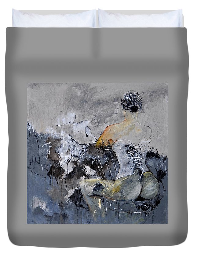 Nude Duvet Cover featuring the painting In The Boudoir 8831 by Pol Ledent