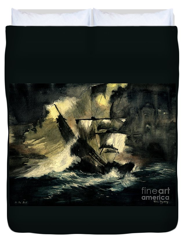 Pirates Ships Duvet Cover featuring the painting In The Dark by Melly Terpening