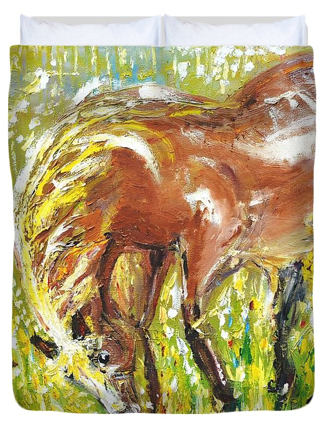 Horse Duvet Cover featuring the painting In The Field by Evelina Popilian