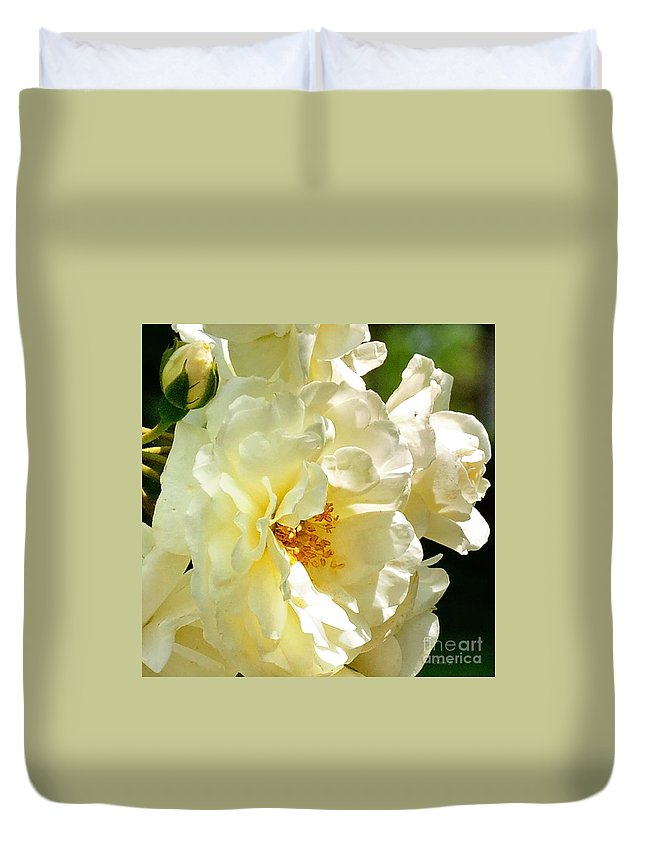 Floral Duvet Cover featuring the photograph Sunny Rose Garden by Nava Thompson