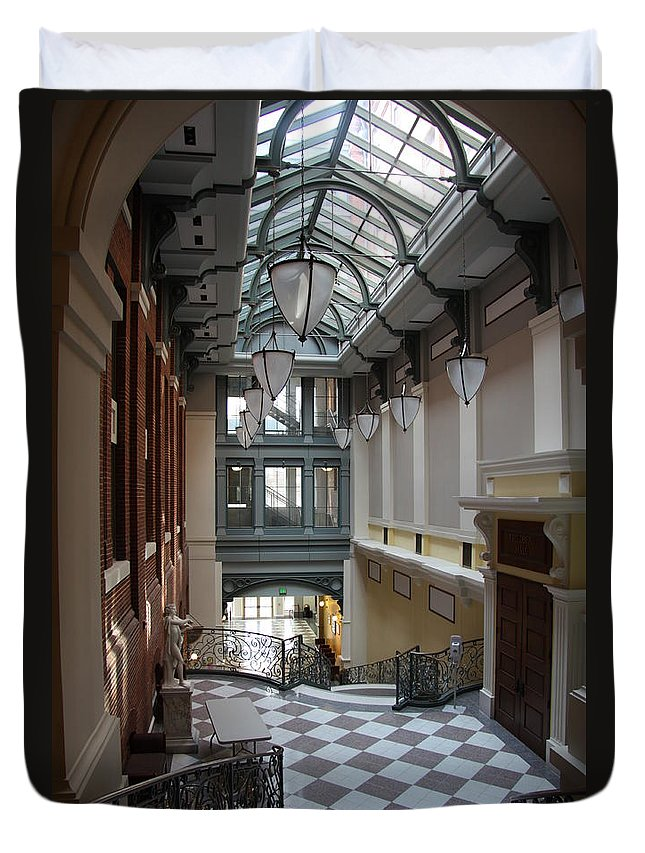 Hallway Duvet Cover featuring the photograph In The Hallway - Peabody Library by Christiane Schulze Art And Photography