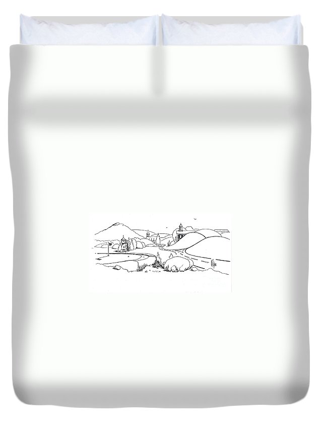 In The Land Of Brigadoon Duvet Cover featuring the drawing In The Land Of Brigadoon by Kip DeVore