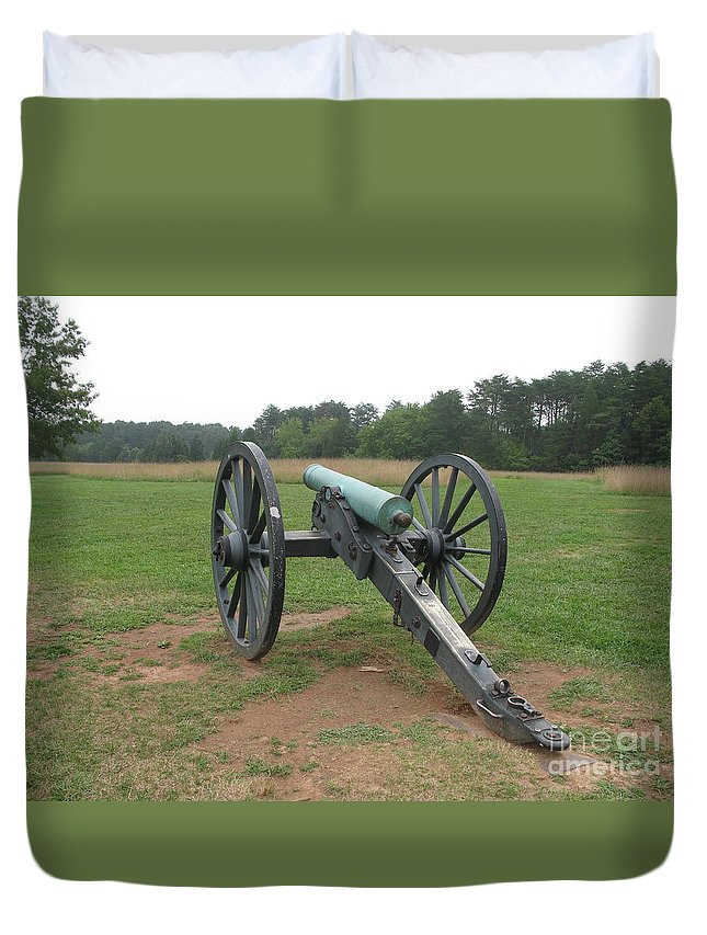 Cannon Duvet Cover featuring the photograph In The Line Of Fire - Manassas Battlefield by Christiane Schulze Art And Photography