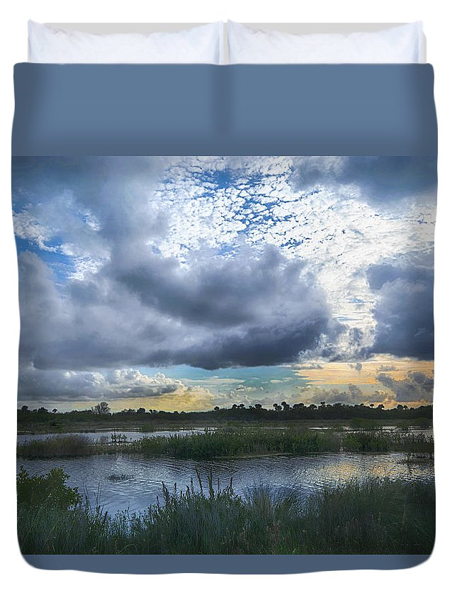 Clouds Duvet Cover featuring the photograph In The Mist by Louise Hill