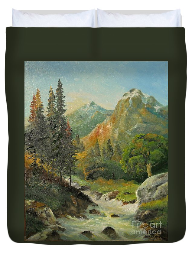 Autumn Duvet Cover featuring the painting In The Mountains by Sorin Apostolescu
