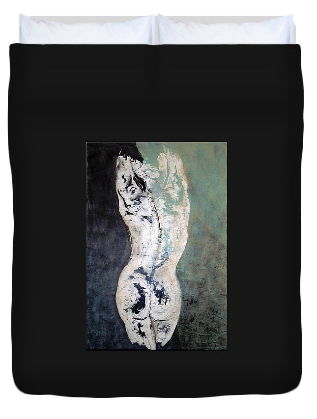Nude Art Duvet Cover featuring the painting In The Night by Sunel De Lange