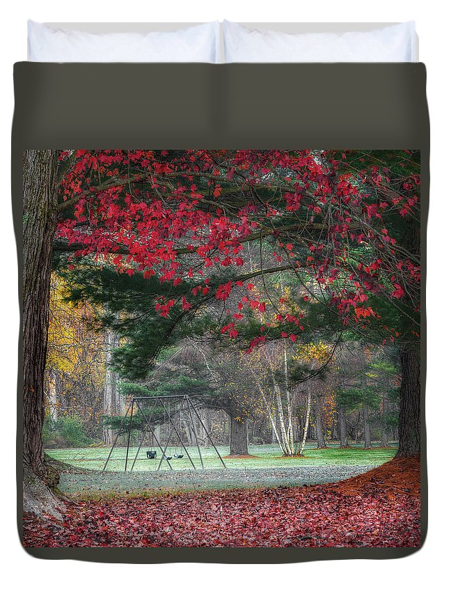 Fog Duvet Cover featuring the photograph In The Park Square by Bill Wakeley