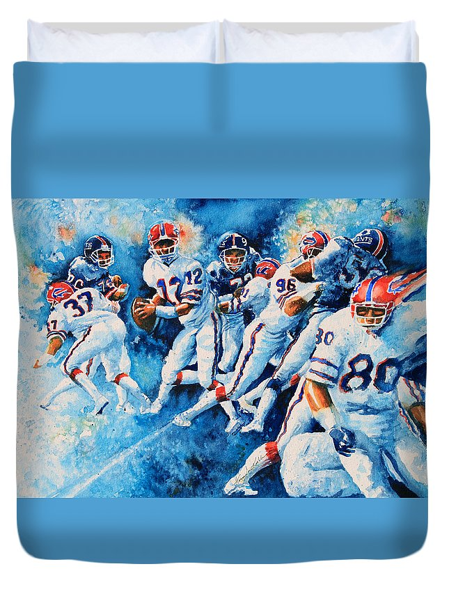 Sports Art Duvet Cover featuring the painting In The Pocket by Hanne Lore Koehler