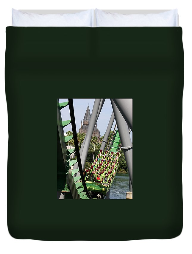 Universal Orlando Resort Duvet Cover featuring the photograph In The Shadow Of Hogwarts by David Nicholls