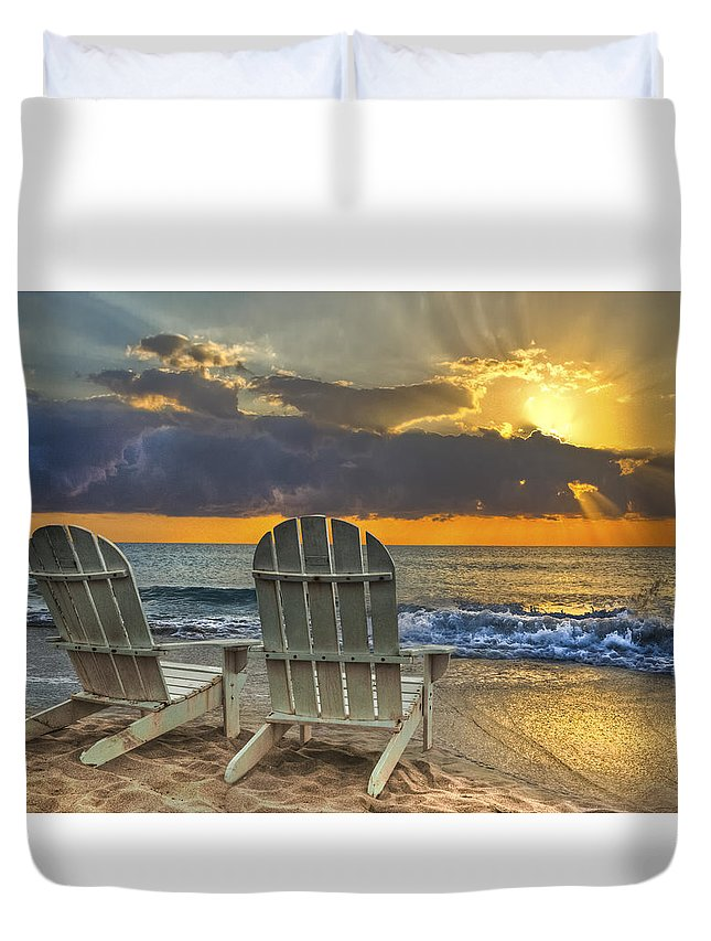Zen Duvet Cover featuring the photograph In The Spotlight by Debra and Dave Vanderlaan