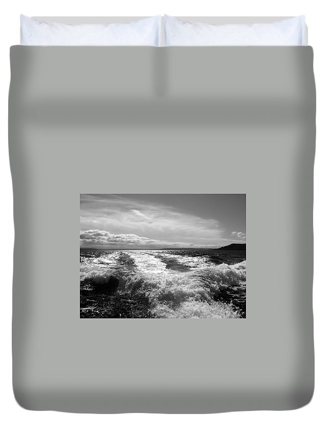 Puget Sound Duvet Cover featuring the photograph In The Wake In Black And White by Jeanette C Landstrom