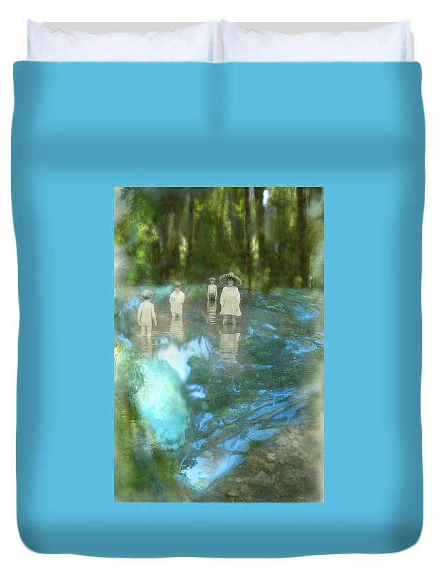 Children Duvet Cover featuring the digital art In The Water by Lisa Yount