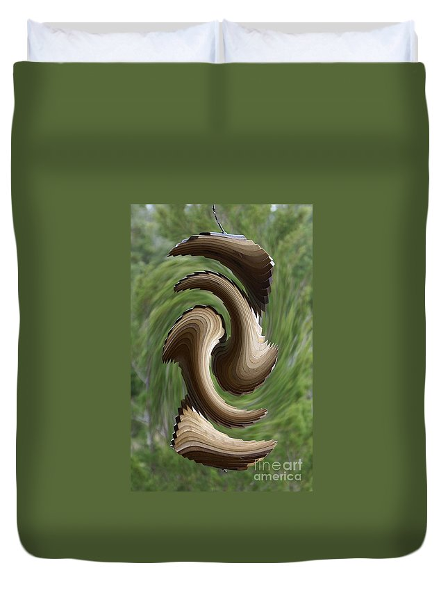 Wind Chime Duvet Cover featuring the photograph In The Wind by Evelyn Hill