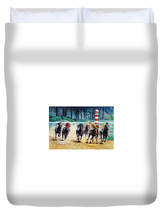 Horses Duvet Cover featuring the painting In the Winner's Circle by John Lautermilch