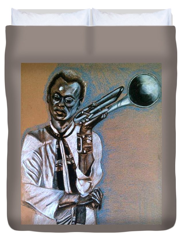Miles Duvet Cover featuring the drawing In Thought by Dallas Roquemore