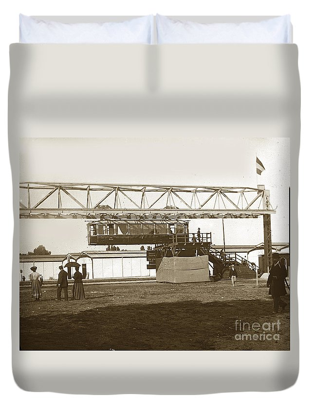 1900 Duvet Cover featuring the photograph Incredible Hanging Railway 1900 by California Views Mr Pat Hathaway Archives