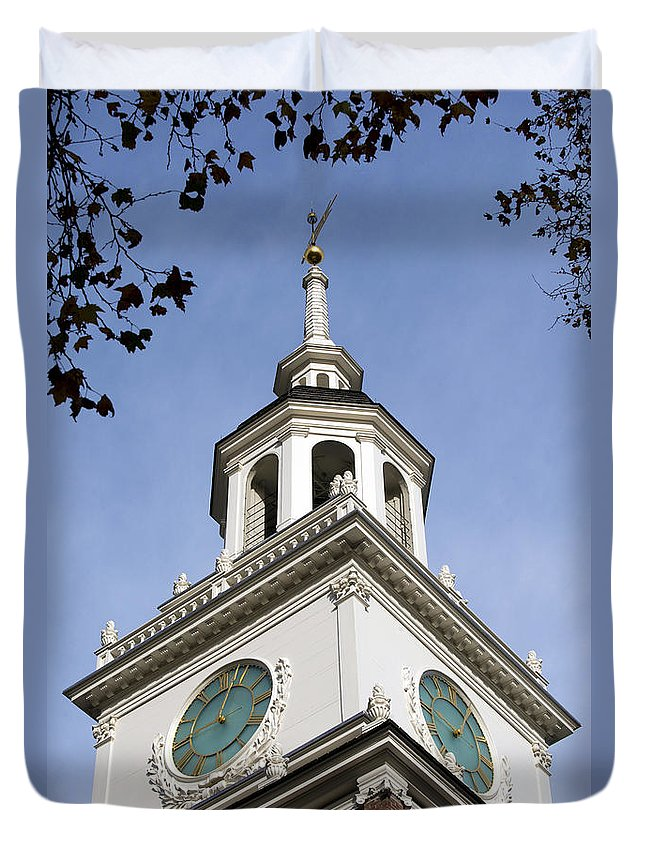 American History Duvet Cover featuring the photograph Independence Hall Bell Tower by Terri Winkler