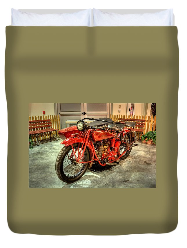Indian Duvet Cover featuring the photograph Indian Motorcycle With Sidecar by David Dufresne