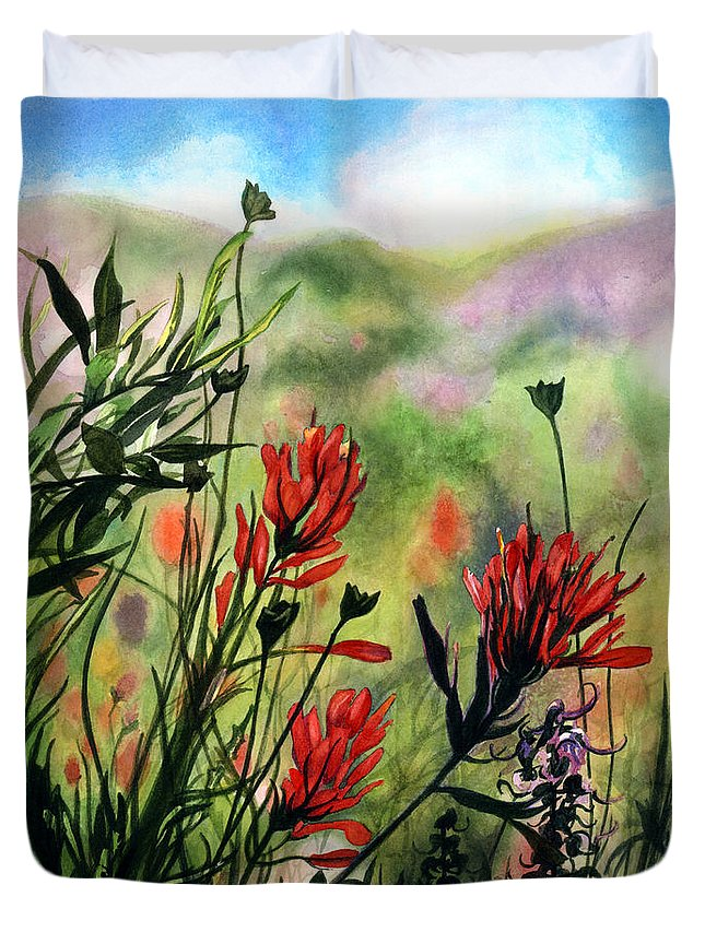 Flowers Duvet Cover featuring the painting Indian Paint Brush by Barbara Jewell