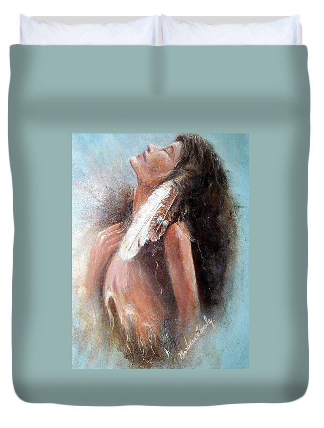 Indian Princess Duvet Cover featuring the painting Indian Princess by Barbara Lemley
