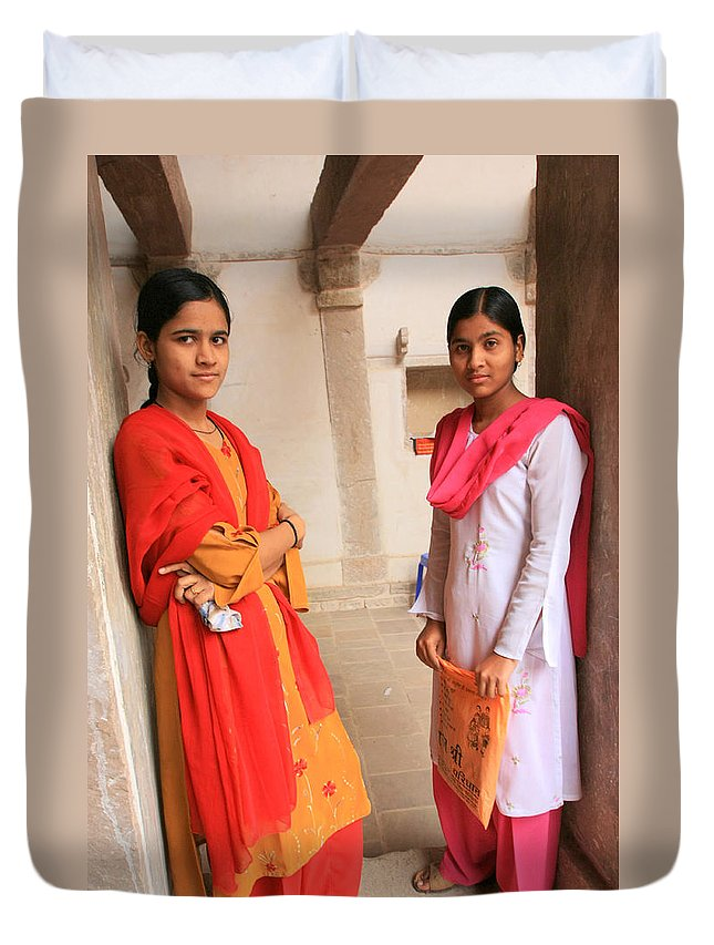 Street Photography Duvet Cover featuring the photograph Indian Sewing Students by Amanda Stadther