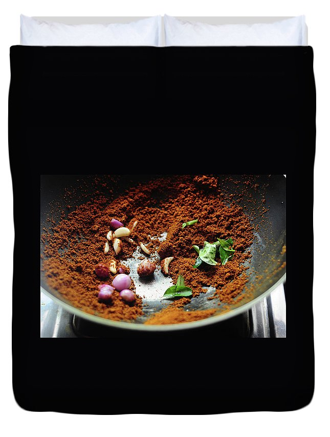 Masala Duvet Cover featuring the photograph Indian Spices Roasting In Pan by Nags . Edible Garden