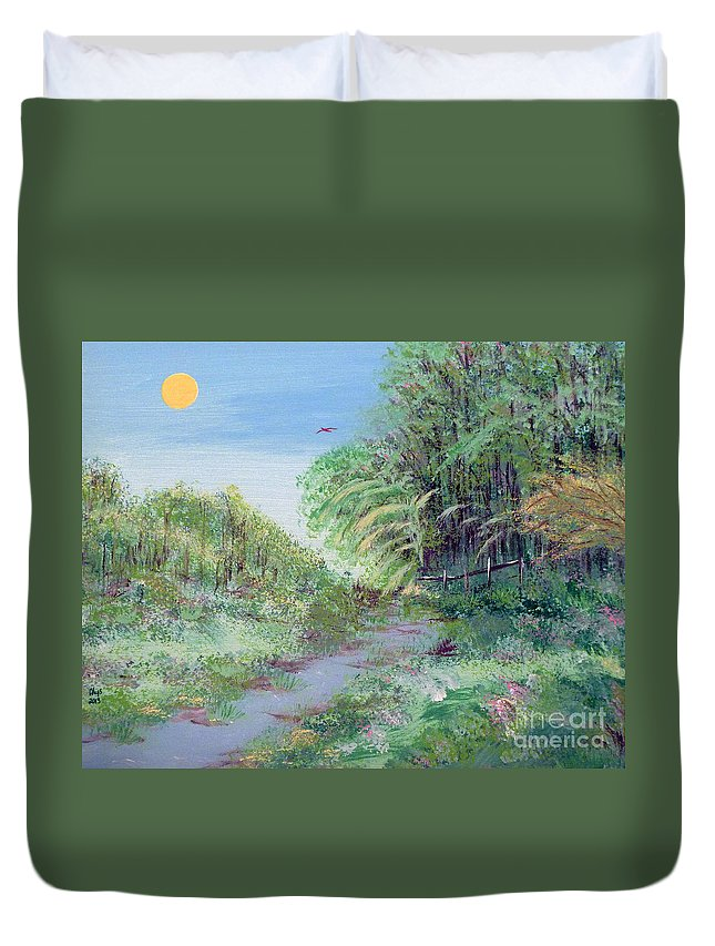 Indiana Duvet Cover featuring the painting Indiana Spring Afternoon By The Creek by Alys Caviness-Gober