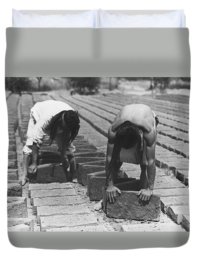 1920s Duvet Cover featuring the photograph Indians Making Adobe Bricks by Underwood Archives Onia