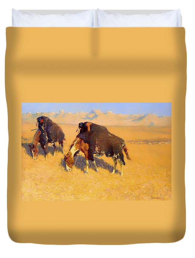 Painting Duvet Cover featuring the painting Indians Simulating Buffalo by Mountain Dreams