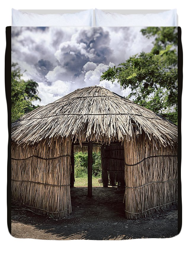 Centro Ceremonial Indigena De Tibes Duvet Cover featuring the photograph Indigenous Tribe Huts In Puer by Bryan Mullennix