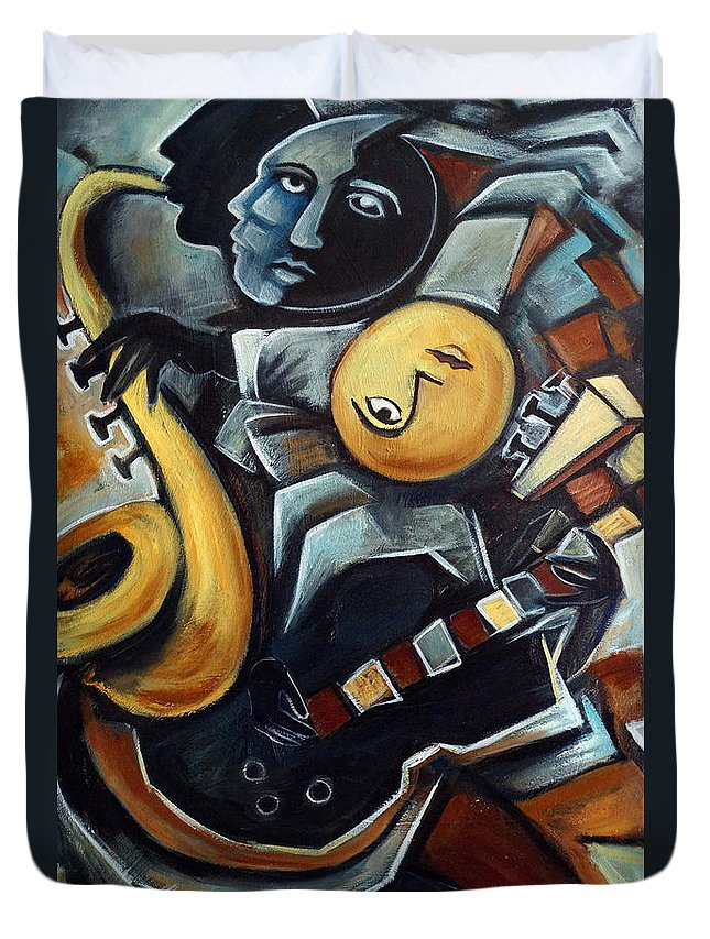 Cubism Duvet Cover featuring the painting Indigo Blues by Valerie Vescovi