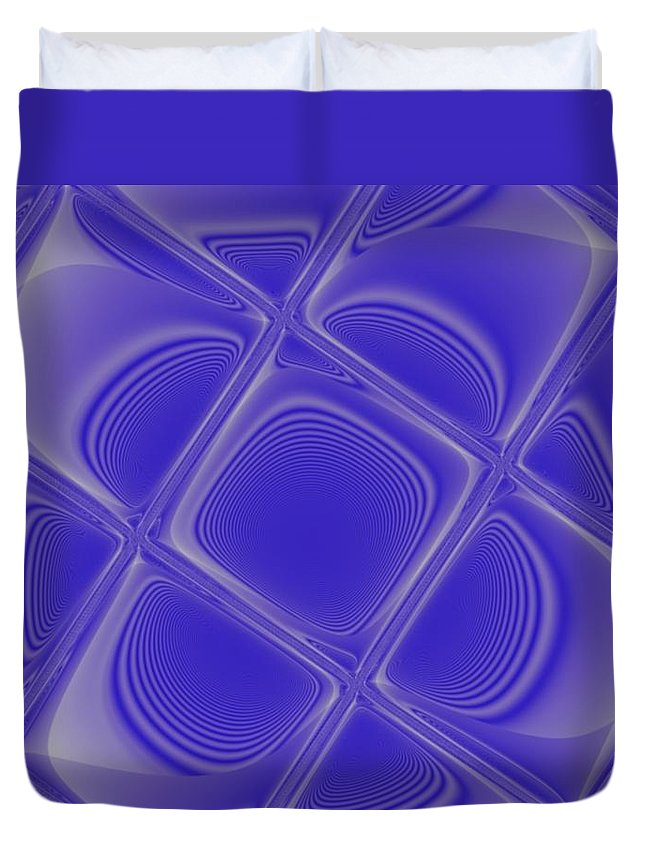 Geometric Duvet Cover featuring the digital art Indigo Petals Morphed by Pharris Art