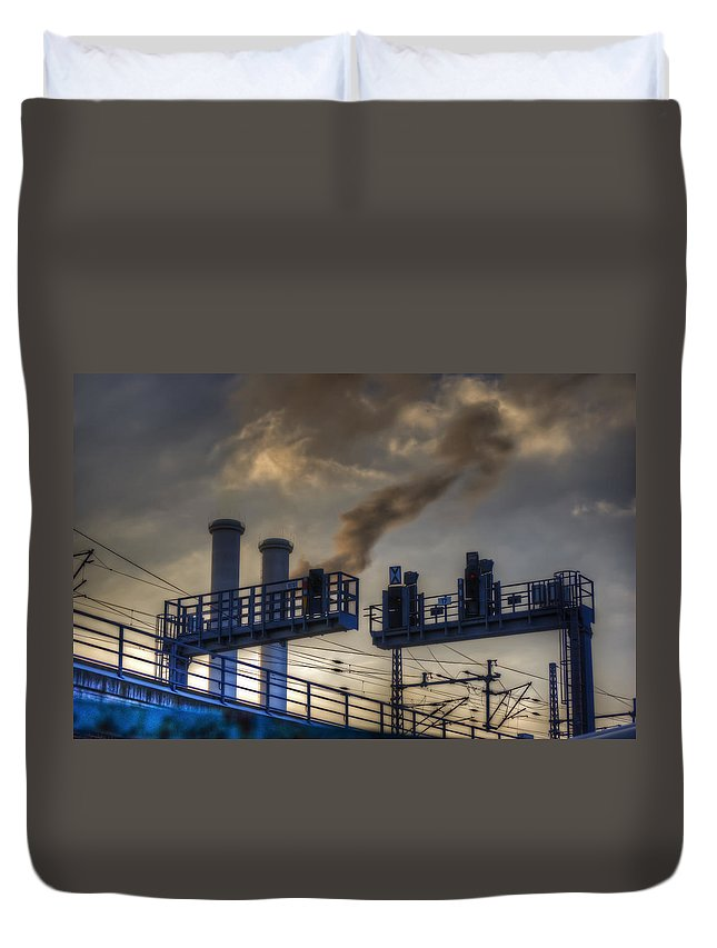 Industrial Duvet Cover featuring the digital art Industrail Sunset by Nathan Wright