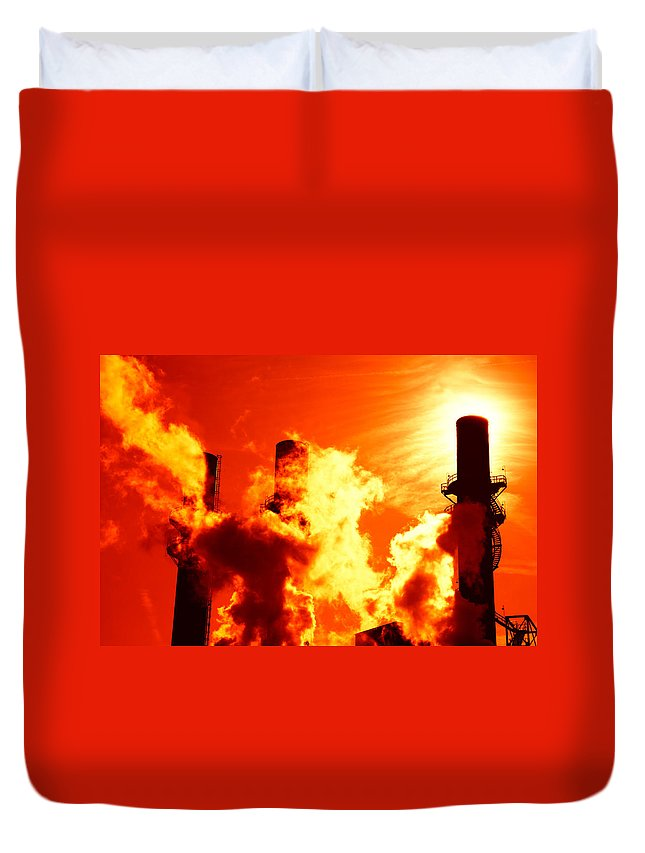 Power Duvet Cover featuring the photograph Industrial by Alexey Stiop