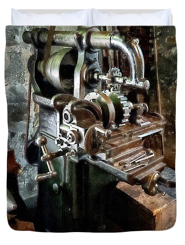 Machine Shop Duvet Cover featuring the photograph Industrial Gear Cutting Machine by Susan Savad