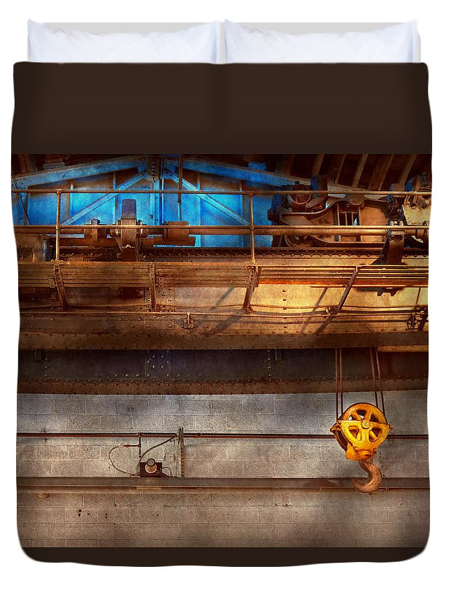 Steampunk Duvet Cover featuring the photograph Industrial - The Gantry Crane by Mike Savad