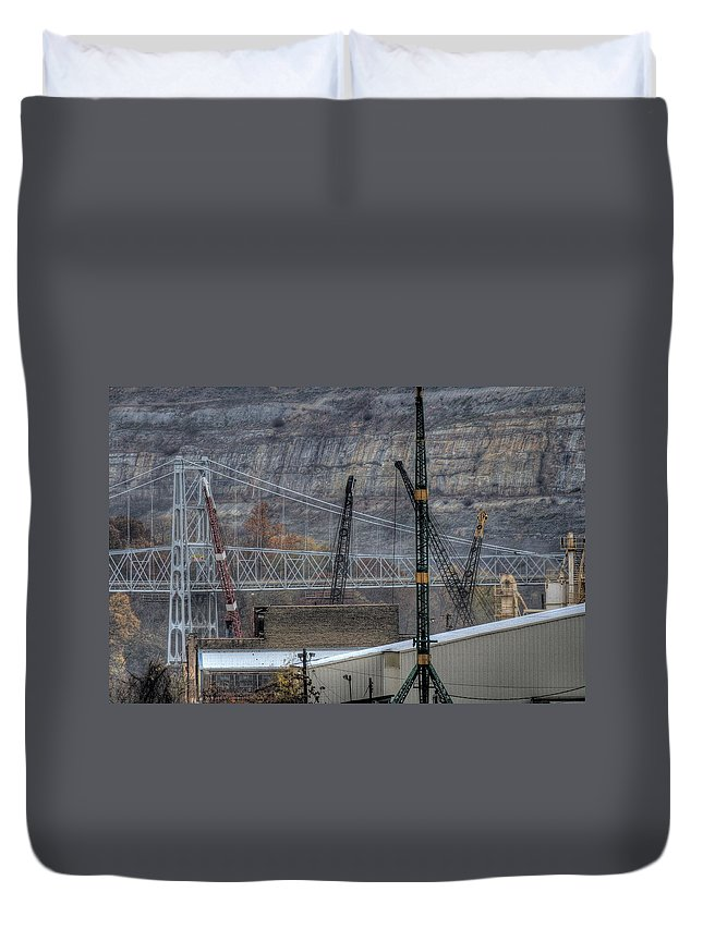 Ohio River Duvet Cover featuring the photograph Industry Along The Ohio River by David Dufresne