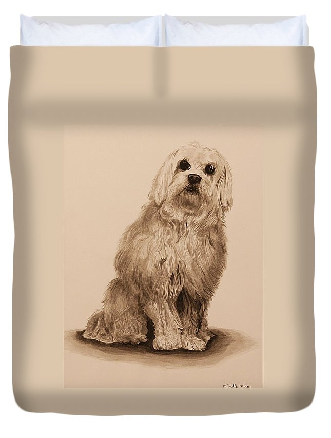 Dog Duvet Cover featuring the painting Ink Dog by Michelle Miron-Rebbe
