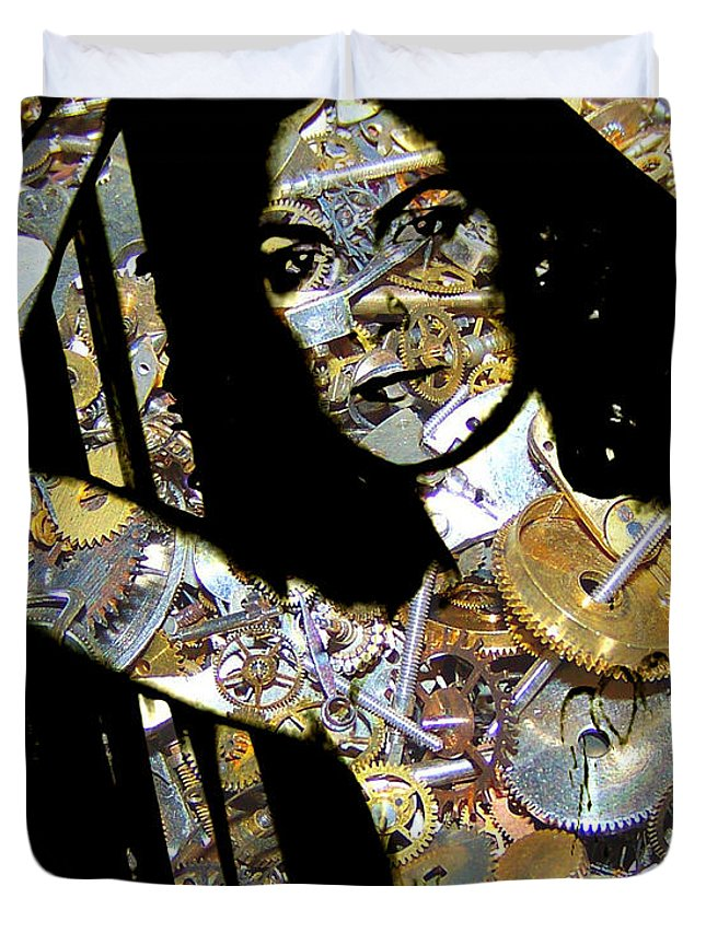 Digital-art Duvet Cover featuring the digital art Inner Strength Steampunk Portrait by Mary Clanahan
