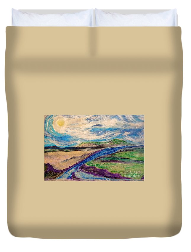 First Star Duvet Cover featuring the painting Inseparable By Jrr by First Star Art