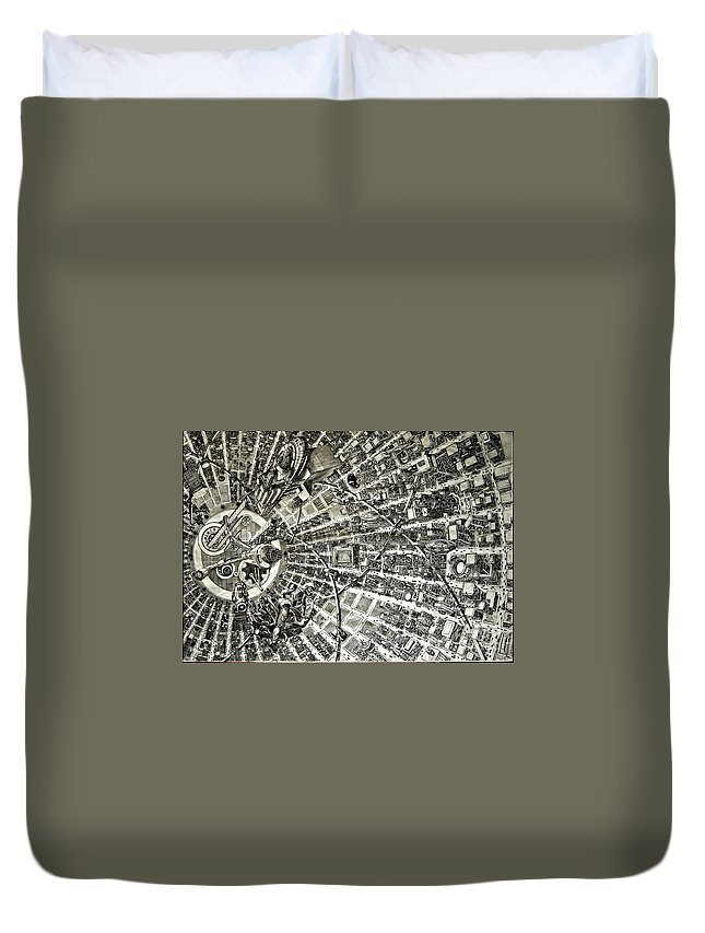 Cityscape Duvet Cover featuring the drawing Inside Orbital City by Murphy Elliott